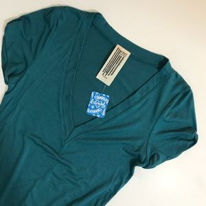 Free People Teal V Neck T-shirt Body Suit