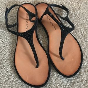 Chinese Laundry Black Thong Dressy Sandal