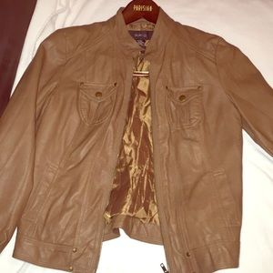 Brand new brown non-leather coating jacket. Size S