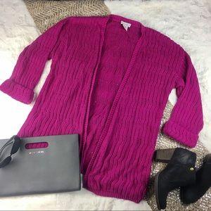 KATE HILL Pink Fushua Sweater EUC open knit