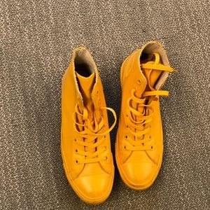 Yellow Rubber Converse High Top Chucks