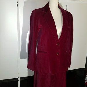 Jackets & Blazers - Vintage Burgandy Velvet Suit 100% Cotton