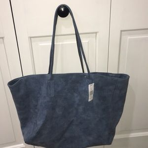 Saks Fifth Avenue blue faux leather tote bag!