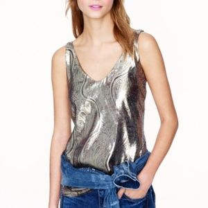 J. Crew Metallic Cate Cami in Gilded Paisley Lamé