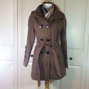 Chocolate Brown Pea Coat + Silk Scarf