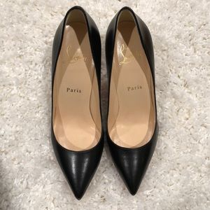 Christian Louboutin black leather shoes