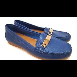 Coach Olive blue pebble leather loafers
