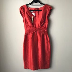 Kay Unger silk persimmon colored dress