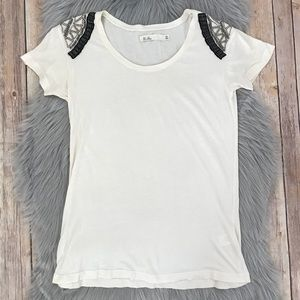 Madewell Hi-Line Beaded Shoulder Knit Top XS