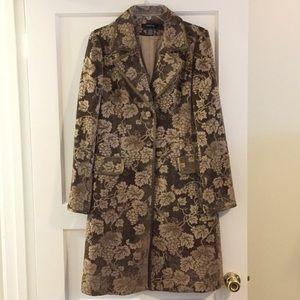 Brown Knee Length Tapestry Coat