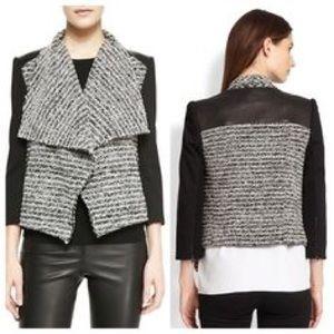 Alive+Olivia Burma Leather and Tweed Draped Jacket