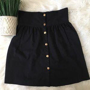 Zara Woman Navy Button Front Skirt