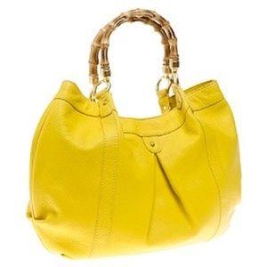 J CREW Las Palmas Yellow Leather Handbag Purse A2