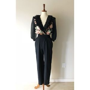 Vintage • sheer ruffled jumpsuit