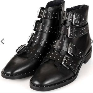 Topshop Amy black leather studded ankle boots 9.5