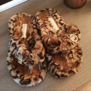 Michael Kors furry flip flops