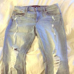 Express destroyed jean leggings