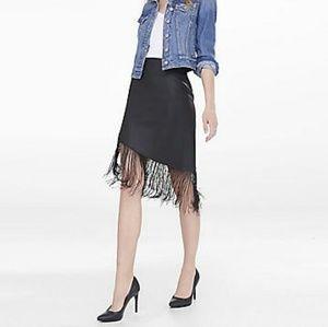 Asymmetric leather Fringe black skirt