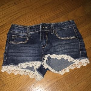 Other - Denim shorts with lace details