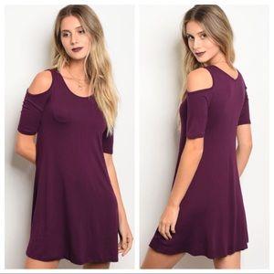 Dresses & Skirts - Plum Cold Shoulder Dress