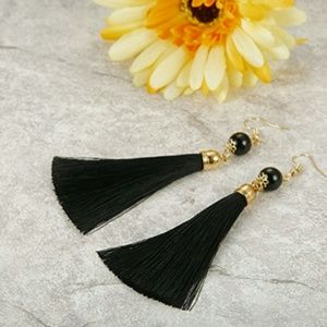 Jewelry - Black Thread Long Dangle Tassel Earrings