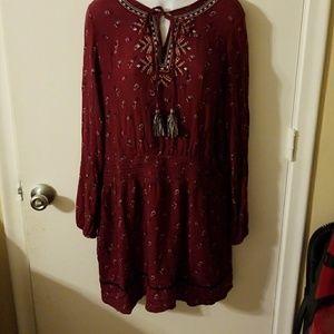 Boho tribal burgundy dress