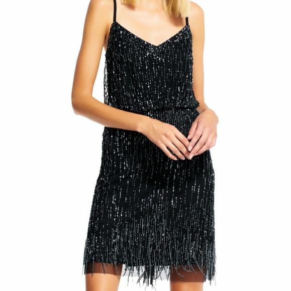 Adrianna Papell Dresses   Adrianna Black Beaded Fridge Plus Size ...