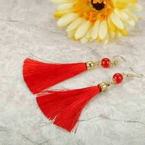 Jewelry - Red Thread Long Dangle Tassel Earrings