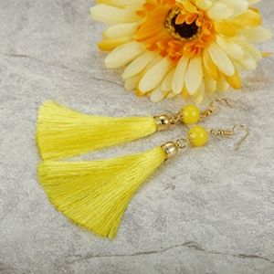 Jewelry - Yellow Thread Long Dangle Tassel Earrings