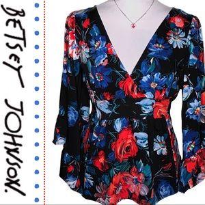 Betsey Johnson Floral Bell Sleeve Kimono Top NWOT