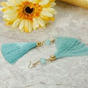 Jewelry - Blue Thread Long Dangle Tassel Earrings
