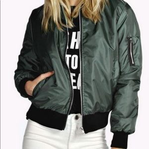 Jackets & Blazers - Satin Bomber Military Aviator Utility Jacket Green