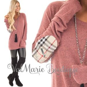 SOFTEST deep rose plaid elbow patch
