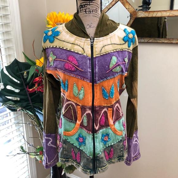 449662ab 🌷BOHO hippie distressed patchwork jacket. M_5a0f8c1c7fab3a52b800237a