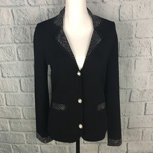 BCBGMAXAZRIA Black Studded Rayon Formal Cardigan