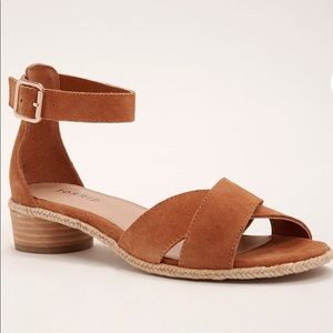Crisscross Mini Block Heels Genuine Suede 6.5 W