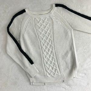 Zara Knit Cream Sweater w/ Black Stripes