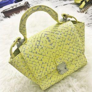 Yellow Zara top handle bag