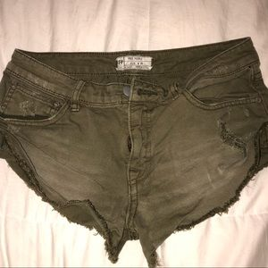 Free People Olive green distressed shorts