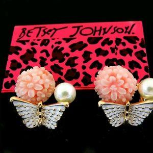 Betsy johnson butterfly stud earings