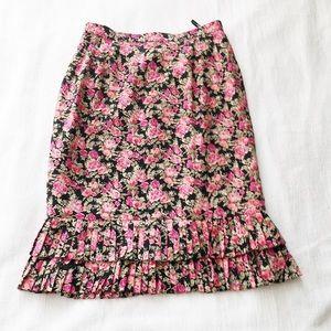 100% Silk Flower Print Skirt Ruffle Hem Black sz12