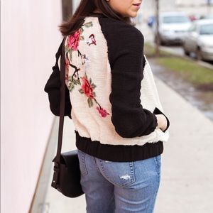 Zara embroidered and embellished bomber jacket S