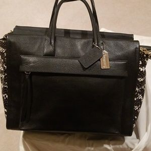 Coach leather and lizard satchel