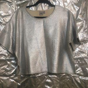 ASOS Silver Metallic Crop Top