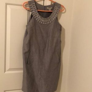 Gray dress with chunky beads on neckline