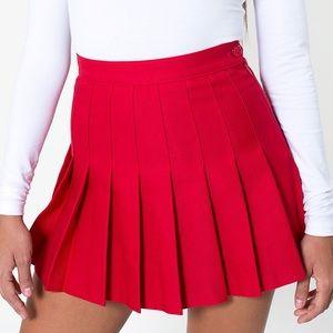 American Apparel Red Pleated Tennis Mini Skirt
