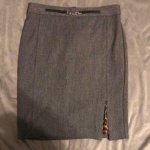 Express Grey Pencil Skirt w/ Leopard Lining Size 6