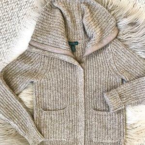 Lauren Ralph Lauren Zip Up Cowl Neck Tan Sweater