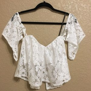 Over-the-Shoulder Lace Crop Top