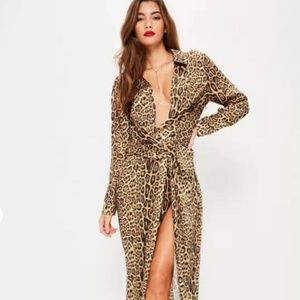 nude leopard print wrap front maxi dress